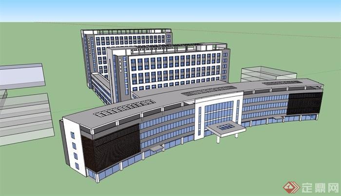 現代風格詳細的多層辦公建筑樓設計su模型