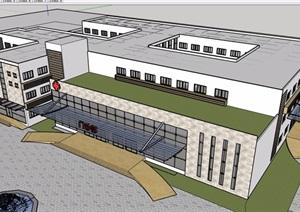 现代风格详细的三层完整医疗建筑设计SU(草图大师)模型