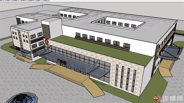 現代風格詳細的三層完整醫療建筑設計su模型