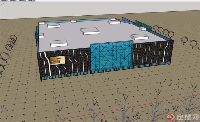 現代風格簡單的商場建筑設計su模型