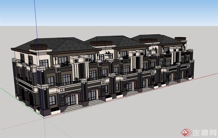 歐式風格詳細的完整多層別墅設計su模型