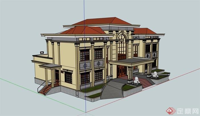 歐式風格小酒店多層設計su模型