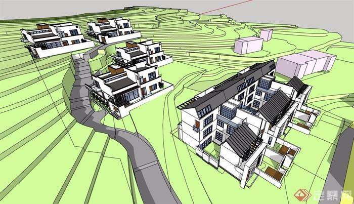 中式風格詳細的完整多層別墅設計su模型