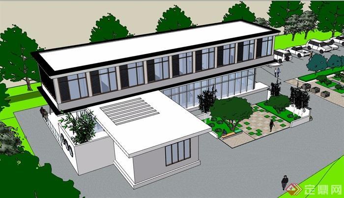 現代風格詳細的私人住宅別墅設計su模型