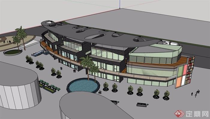 現代風格詳細的三層完整的商業建筑樓設計su模型