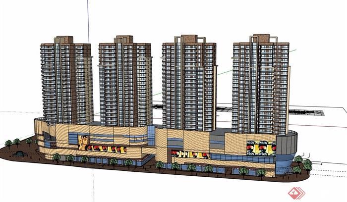 現代風格詳細的完整商業住宅樓設計su模型