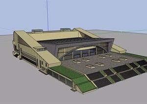 现代风格详细的完整多层文化中心建筑设计SU(草图大师)模型