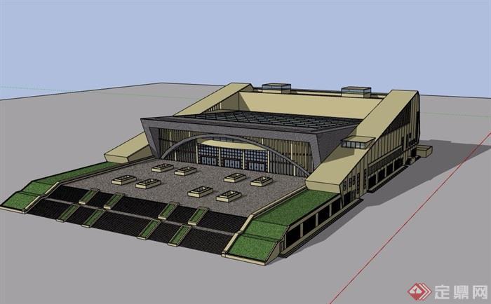 現代風格詳細的完整多層文化中心建筑設計su模型