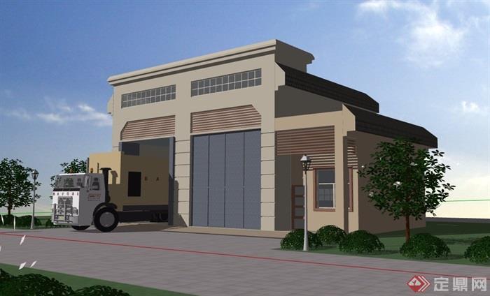 歐式風格詳細的垃圾房建筑設計su模型