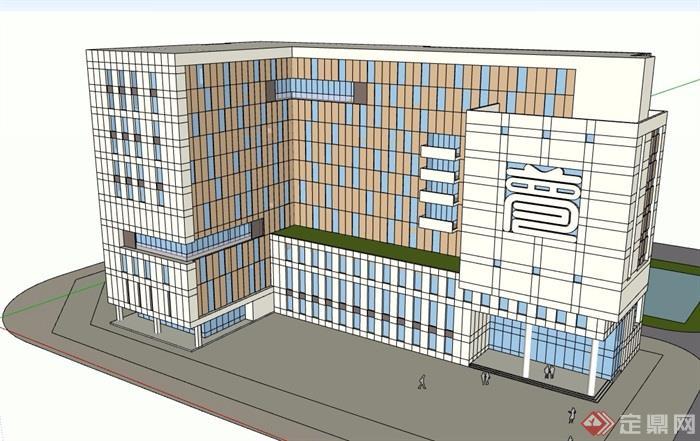 某現代風格詳細的多層辦公樓su模型