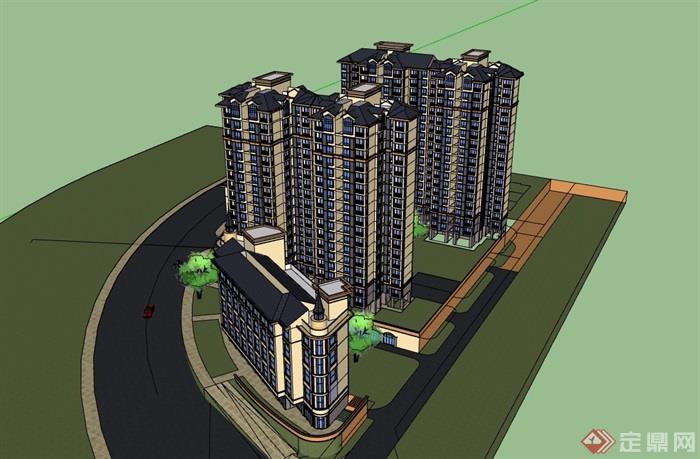 詳細的完整高層居住小區建筑樓設計su模型