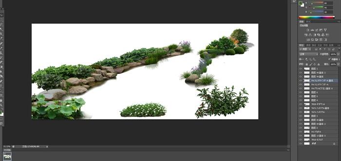 水邊駁岸石頭植物花卉景觀后期制作素材psd(1)
