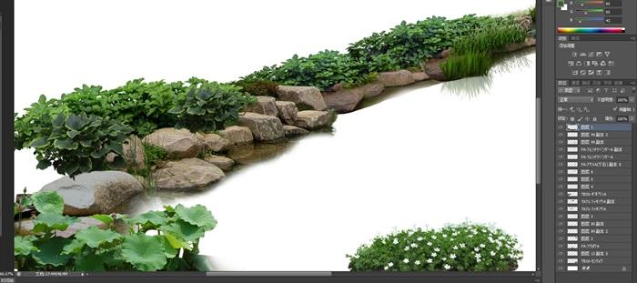水邊駁岸石頭植物花卉景觀后期制作素材psd(2)