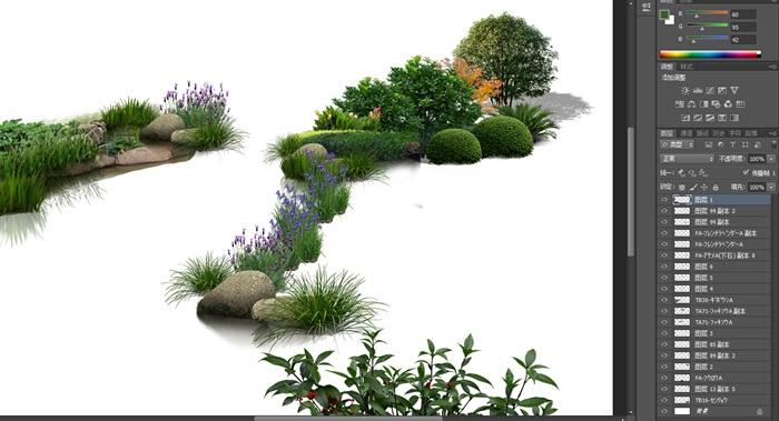 水邊駁岸石頭植物花卉景觀后期制作素材psd(3)