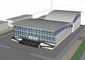 现代风格文化馆展览中心建筑设计SU(草图大师)模型