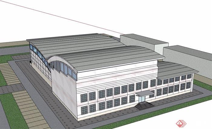 現代風格文化館展覽中心建筑設計su模型