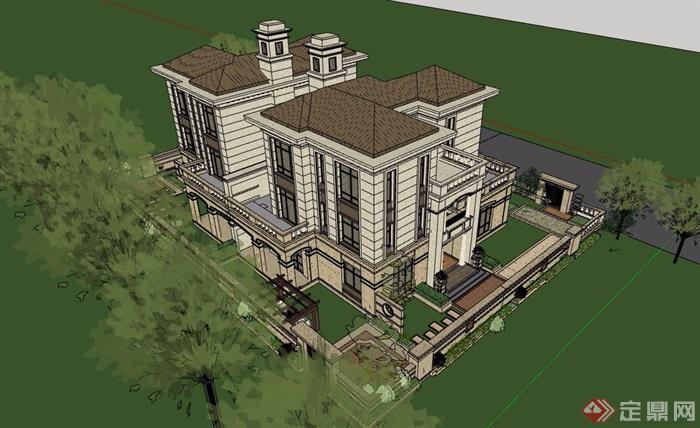 雙拼歐式風格詳細的住宅別墅su模型