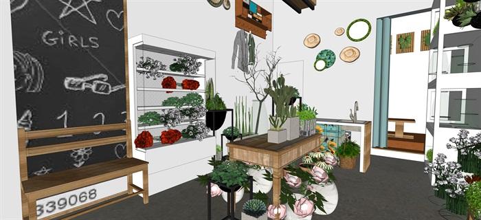 鮮花店設計精品素材模型2su(3)