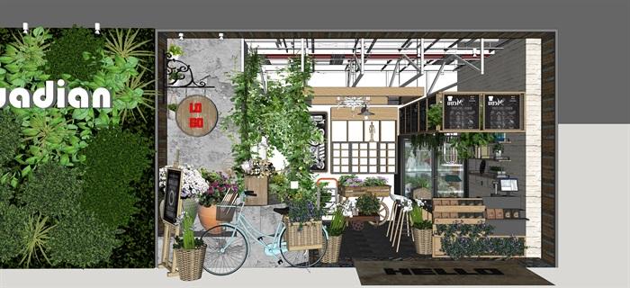 鲜花店设计精品素材模型su(4)