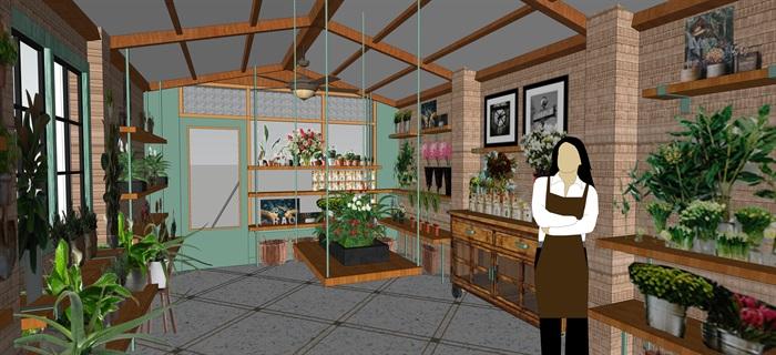 鲜花店设计精品模型3su(3)