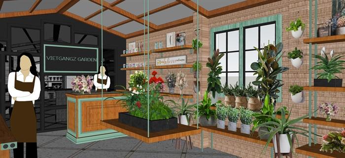 鮮花店設計精品模型3su(4)