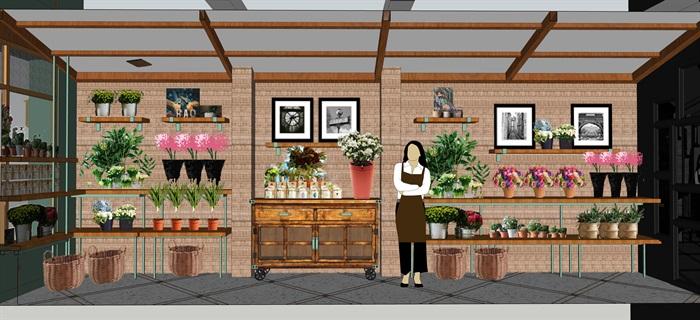 鲜花店设计精品模型3su(5)