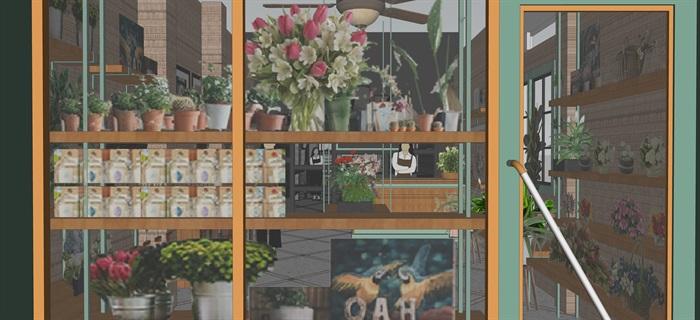鲜花店设计精品模型3su(7)