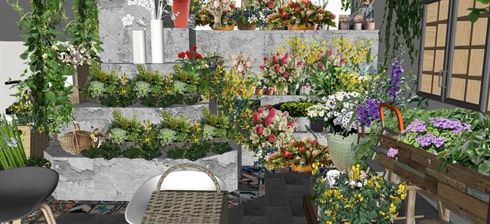 鲜花店设计精品素材模型su(8)