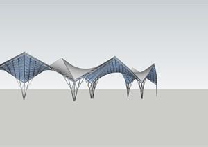 联片张拉膜的SU(草图大师)素材模型