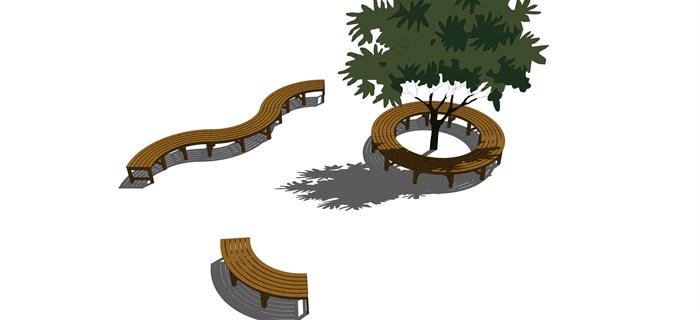 景觀座椅樹池su精品模型素材(1)