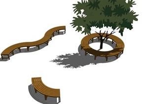 景观座椅树池SU(草图大师)精品模型素材