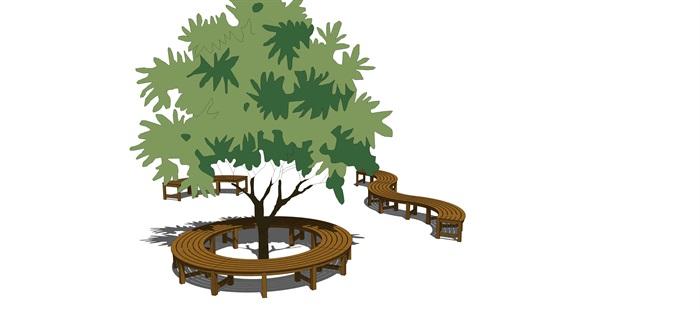 景觀座椅樹池su精品模型素材(3)