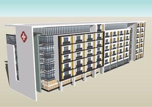 6层住院部建筑素材设计SU(草图大师)模型