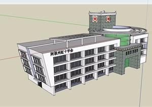 现代风格四层医院建筑楼设计SU(草图大师)模型