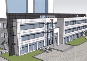 三层现代风格门诊部建筑设计SU(草图大师)模型