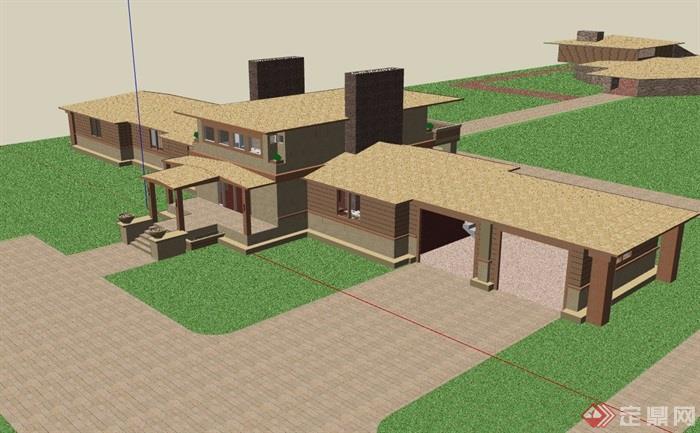 歐式風格詳細的經典完整別墅設計su模型