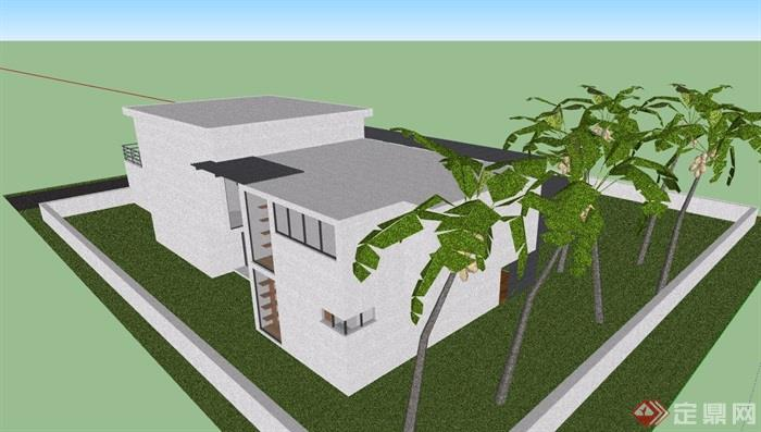 現代風格詳細的完整多層別墅建筑設計su模型