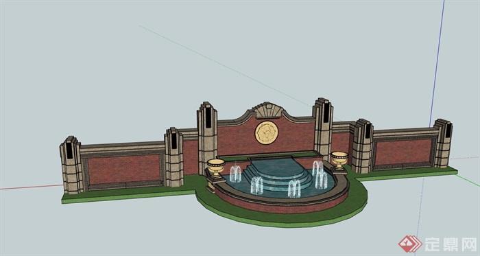 歐式風格詳細的完整水池景墻素材設計su模型