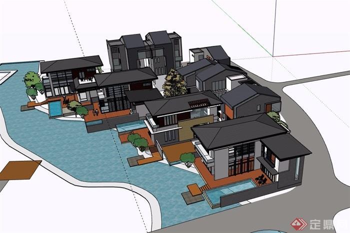中式風格詳細的經典完整別墅設計su模型