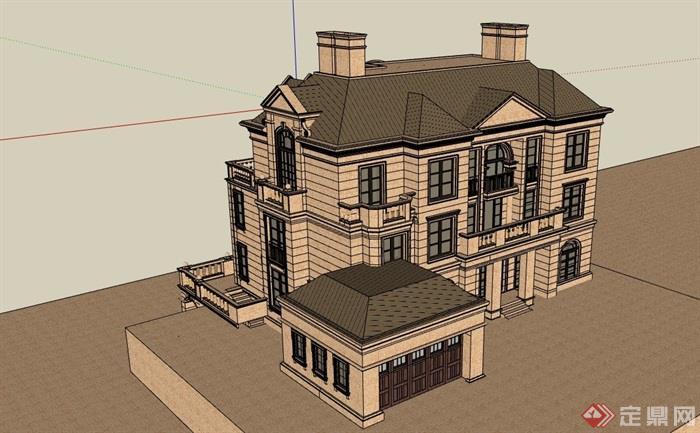 歐式風格詳細的私人完整住宅別墅設計su模型