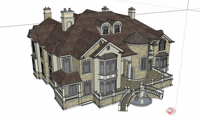 歐式風格詳細的私人大型住宅別墅su模型