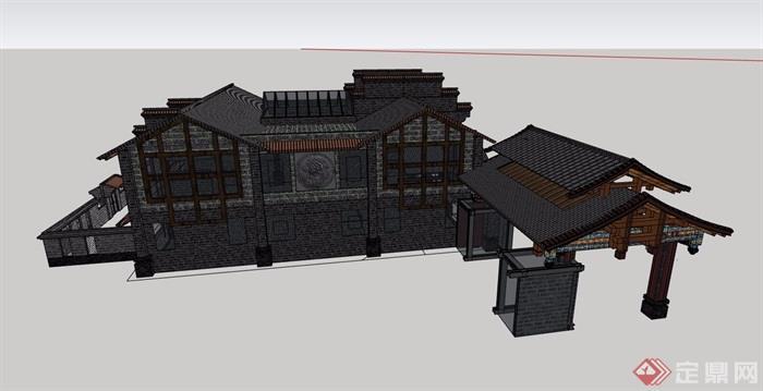 中式風格詳細的完整多層餐飲建筑su模型