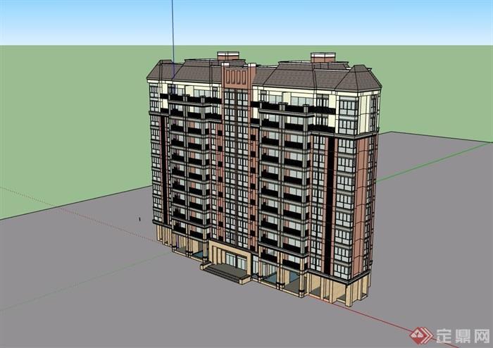歐式風格詳細的居住高層建筑樓設計su模型