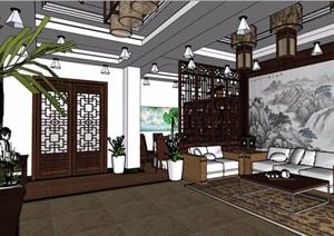 中式风格详细的室内客餐厅装饰设计SU(草图大师)模型