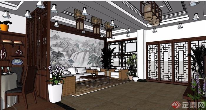 中式風格詳細的室內客餐廳裝飾設計su模型