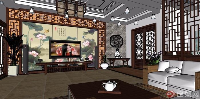 中式风格详细的室内客餐厅装饰设计su模型