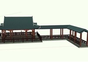 古典中式风格详细的亭廊素材设计SU(草图大师)模型