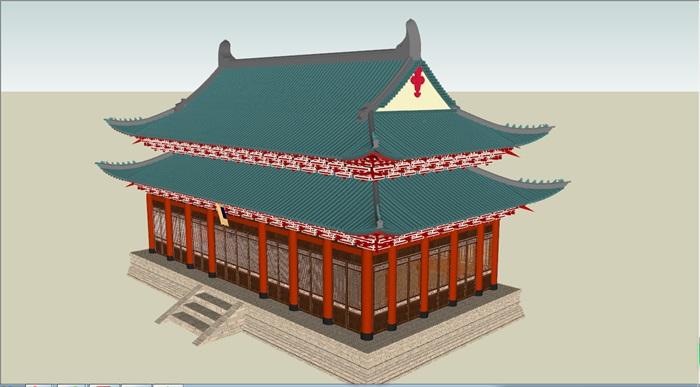 重檐歇山顶古建筑(2)