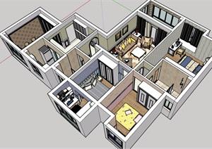 某现代风格详细的住宅室内装饰SU(草图大师)模型