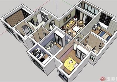 某現代風格詳細的住宅室內裝飾su模型